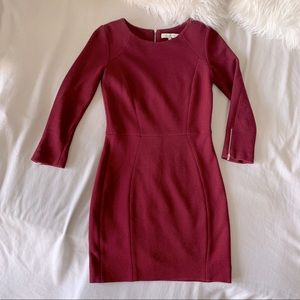 Sandro Zipper Back Burgundy Long Sleeved Dress